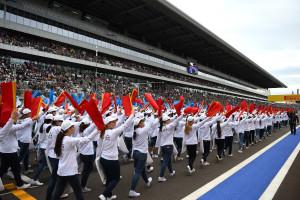 Grid entertainment at Formula One World Championship, Rd15, Russian Grand Prix, Race, Sochi Autodrom, Sochi, Krasnodar Krai, Russia, Sunday 11 October 2015.