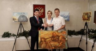 Сочинские художники Кириленко передали картину о футболе в ООН